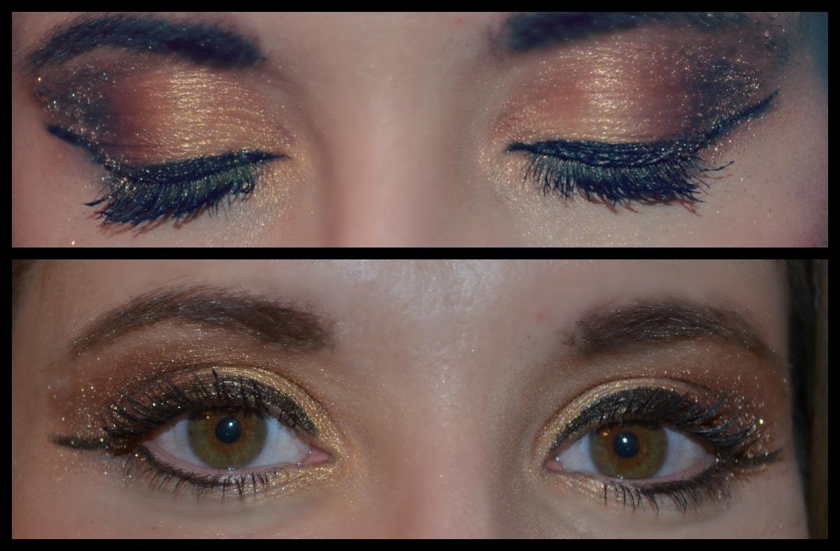 Holiday shimmer makeup tutorial candy stilettos goldeyeshadow baditri Images